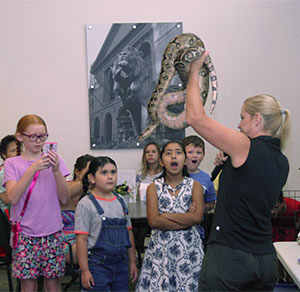 Kids jaws drop as they see a big snake